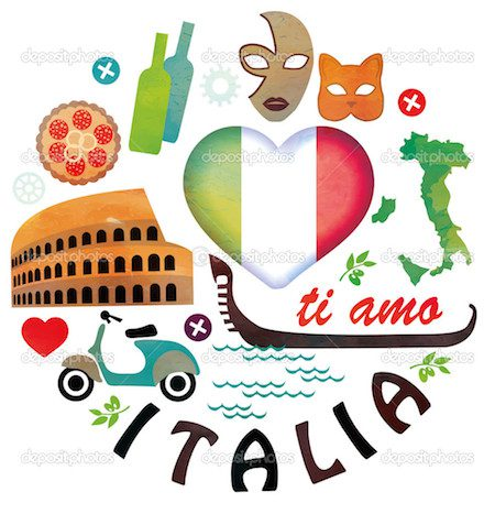 Italy. Symbols of cities. Vector set